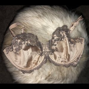 Beige with brown lace Wacoal Bra 34G